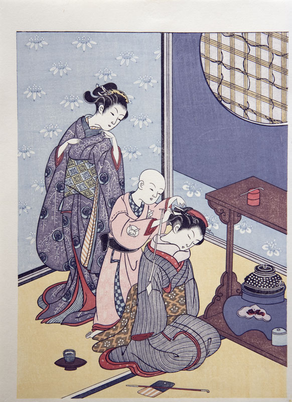 Suzuki Harunobu Night rain of the tea rack