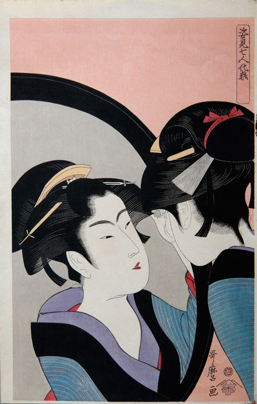 Utamaro Seven women applying make-up using a full-length mirror